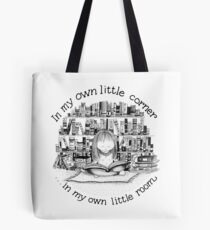 In My Own Little Corner (White and Blue Background) Tote Bag