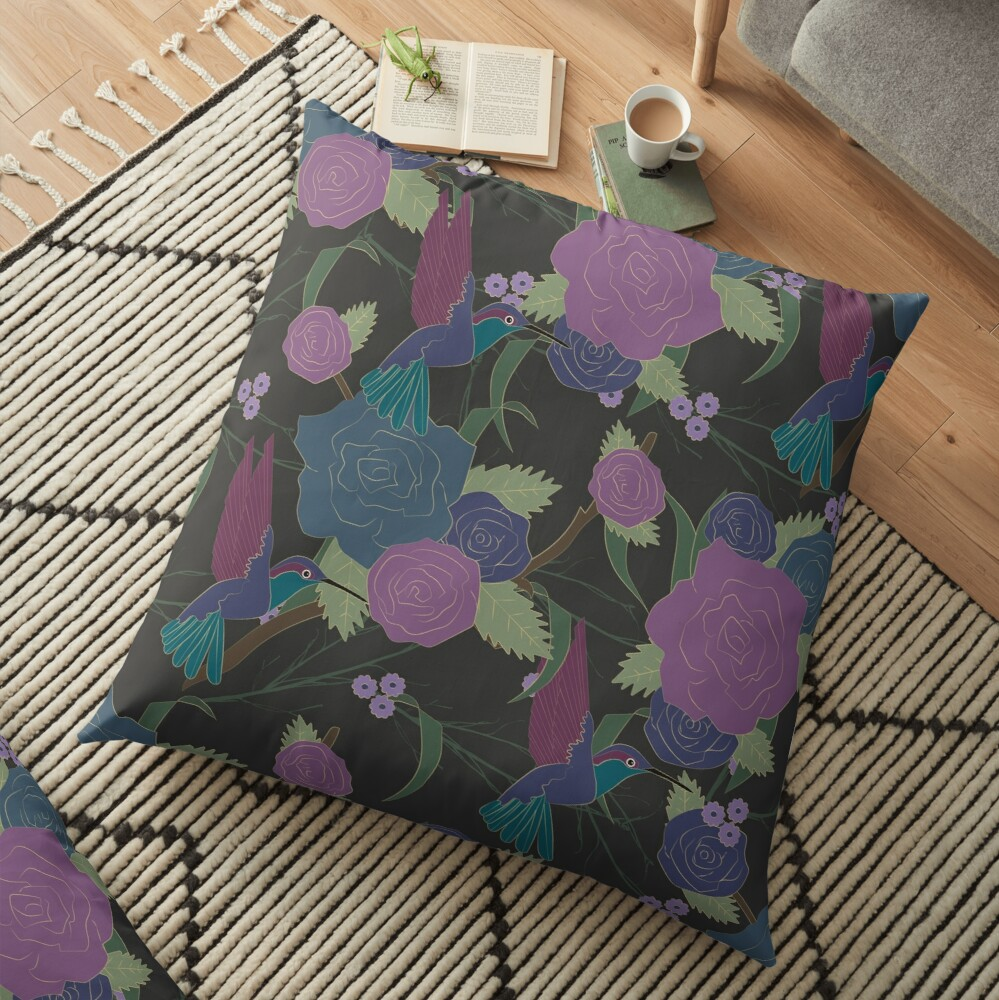 Dark Roses Floor Pillow