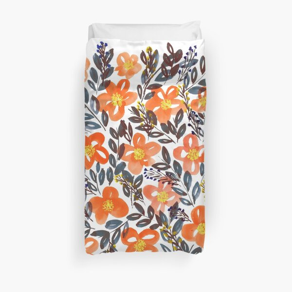 hand painted flowers Duvet Cover