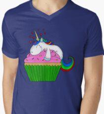 Einhorn Cupcake T-Shirt mit V-Ausschnitt
