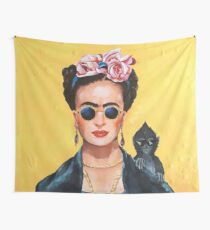 Modern Frida Kahlo with Meme Monkey, Thug Life Wall Tapestry