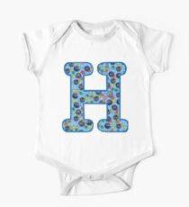 Soot Sprites Letter H Blue One Piece - Short Sleeve