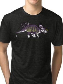 Purple and Green Pachyrhinosaurus Tri-blend T-Shirt