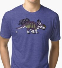 Purple and Green Pachyrhinosaurus Tri-blend T-Shirt