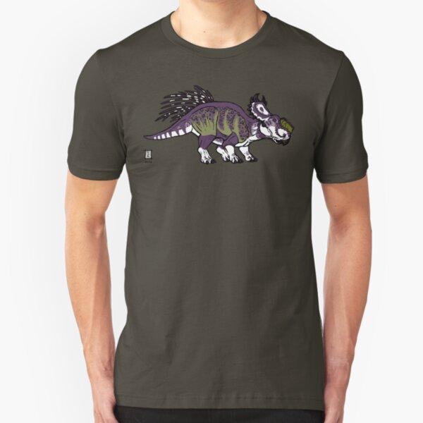 Purple and Green Pachyrhinosaurus Slim Fit T-Shirt