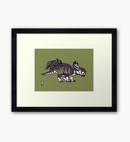 Purple and Green Pachyrhinosaurus Framed Print