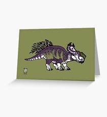 Purple and Green Pachyrhinosaurus Greeting Card
