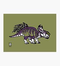 Purple and Green Pachyrhinosaurus Photographic Print