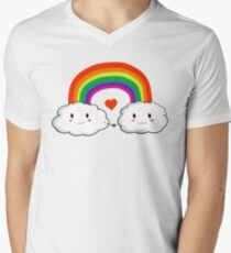 Ranbows and clouds Men's V-Neck T-Shirt