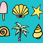 Ice Cream, Shells, Palm Tree's and Starfish Pattern by ImportAutumn