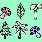 Palm Trees, Mushrooms, Leaves and Tree Pattern by ImportAutumn