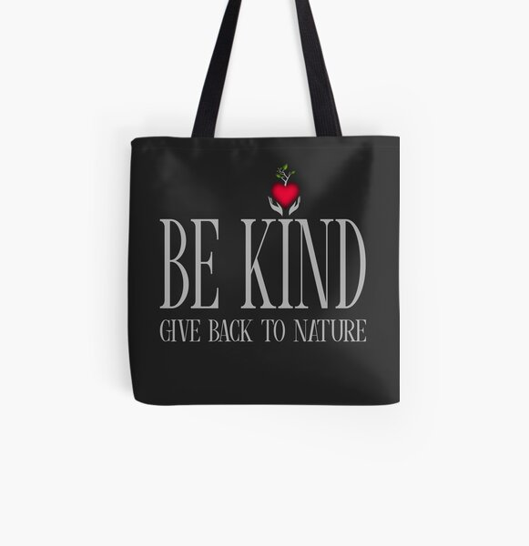 Be Kind - Text - Dark Background All Over Print Tote Bag