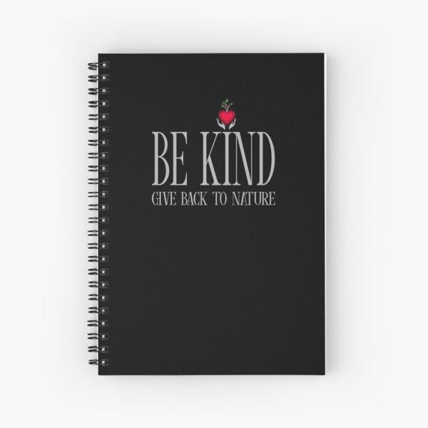 Be Kind - Text - Dark Background Spiral Notebook