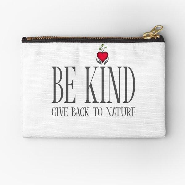 Be Kind - Text - Light Background Zipper Pouch