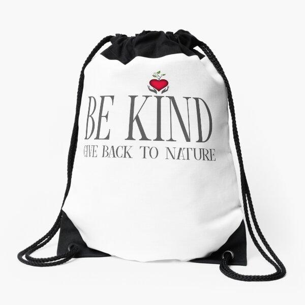 Be Kind - Text - Light Background Drawstring Bag