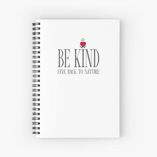 Be Kind - Text - Light Background Spiral Notebook