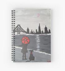 San Francisco Skyline: Girl and Her Dog Spiral Notebook