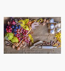 Autumn still life layout with fruits nuts and flowers Photographic Print