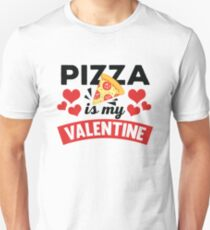 Funny Pizza Is My Valentines Hearts Print Unisex T-Shirt