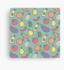 Pattern Fruits And Vegetables Vegan Canvas Print