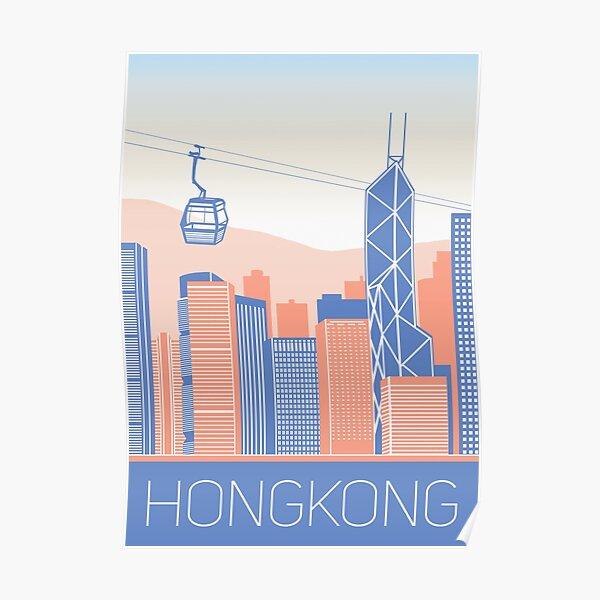 hong kong city illustration Poster