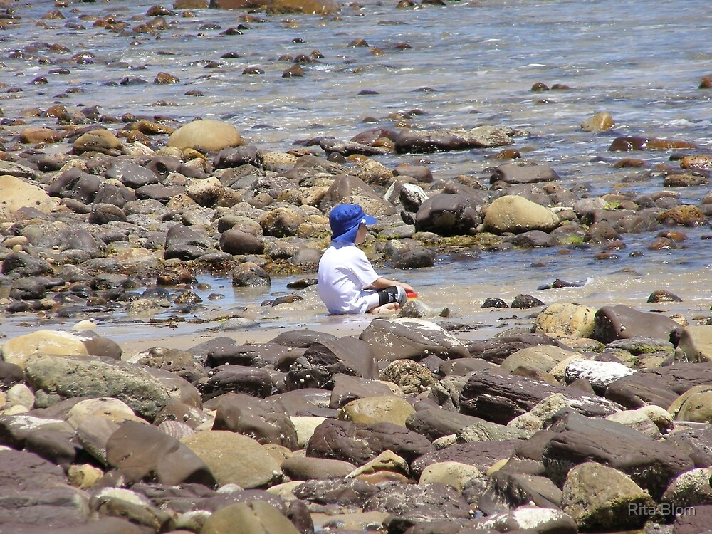 'LOST IN THOUGHT!'  Sitting in the shallows. Marino Rocks. S.A. by Rita Blom