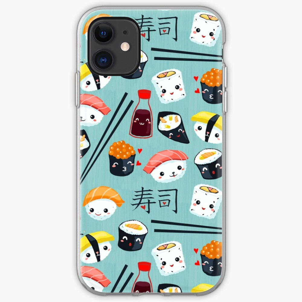 Kawaii Sushi in blau iPhone Flexible Hülle