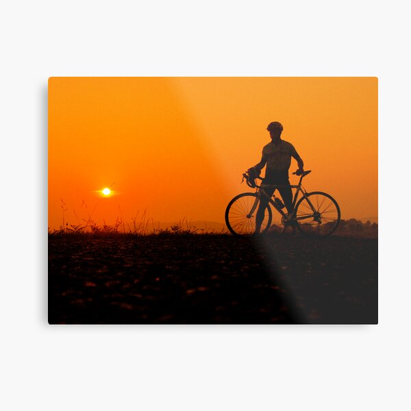 sunset bicycle Metal Print