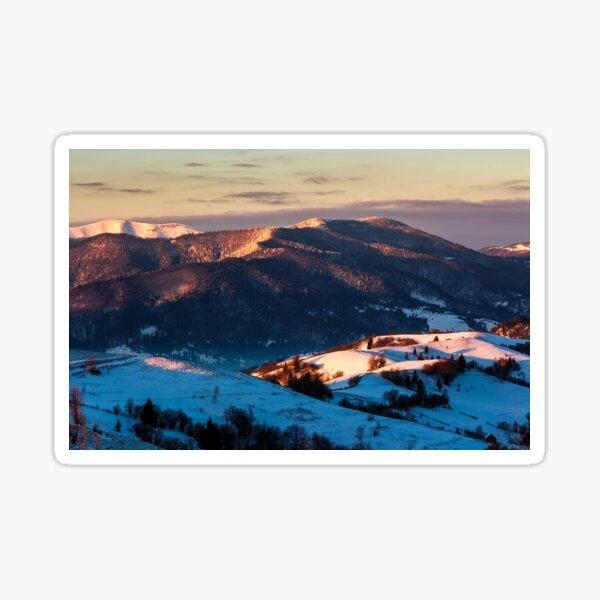 sunrise in snowy Carpathian mountains Sticker