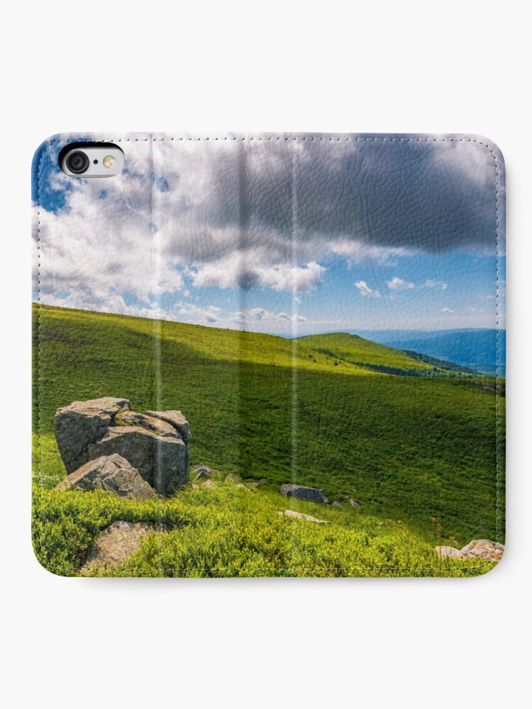 Alternate view of giant boulders on grassy slopes of Polonina Runa iPhone Wallet