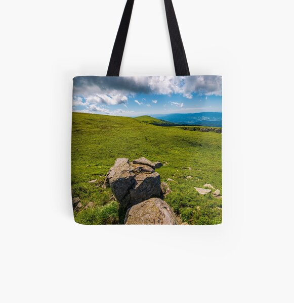 giant boulders on grassy slopes of Polonina Runa All Over Print Tote Bag