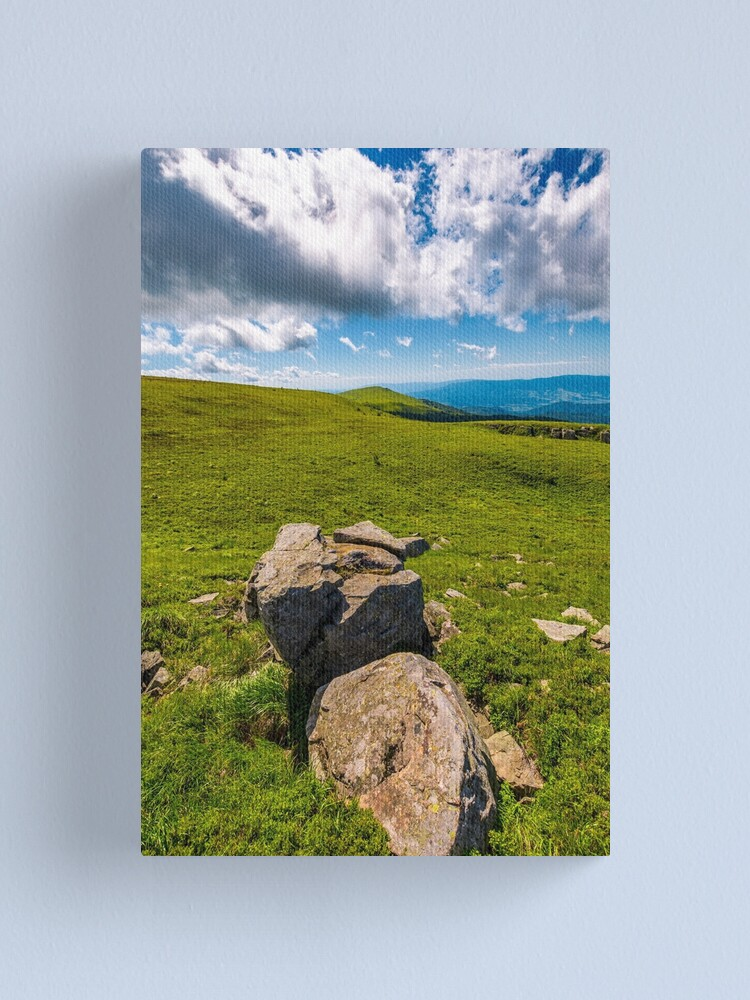 Alternate view of giant boulders on grassy slopes of Polonina Runa Canvas Print