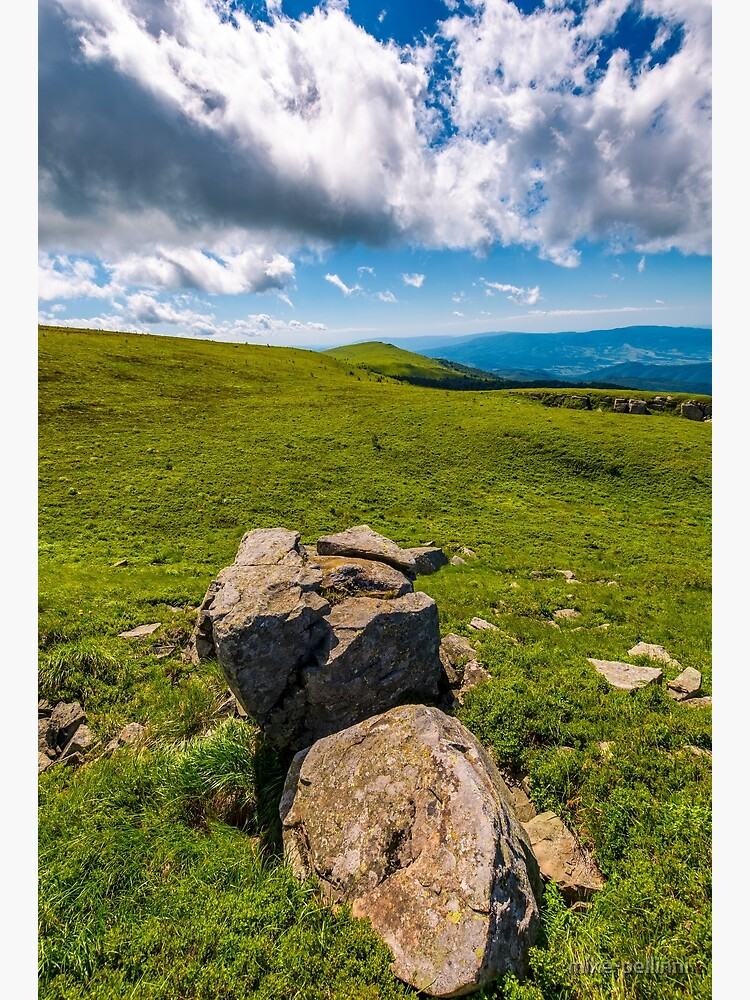 giant boulders on grassy slopes of Polonina Runa by mike-pellinni