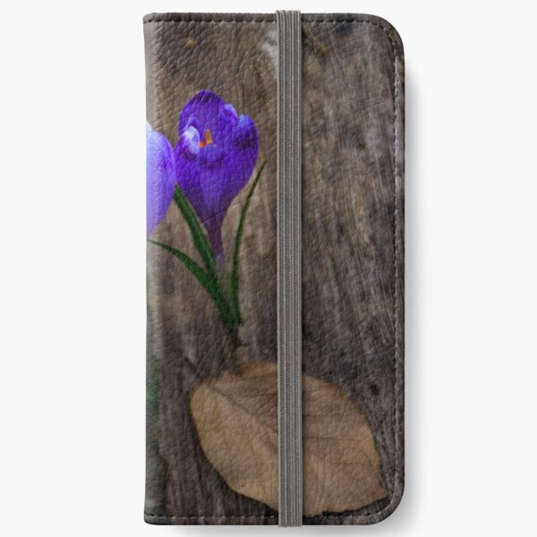 purple crocus flowers in forest iPhone Wallet