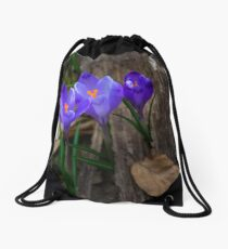 purple crocus flowers in forest Drawstring Bag