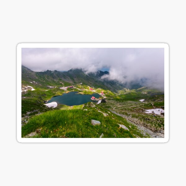 mountain lake Balea view through the clouds Sticker