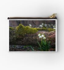 Blooming of White spring Snowflake in forest Studio Pouch
