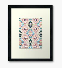 Woven Textured Pastel Kilim Pattern Framed Print