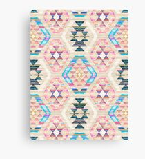 Woven Textured Pastel Kilim Pattern Canvas Print