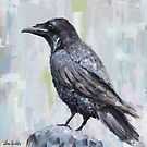The Raven - Digital Oil Painting with Gray and Pastel Background by ibadishi
