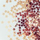 Golden Stars over white background by marychaco
