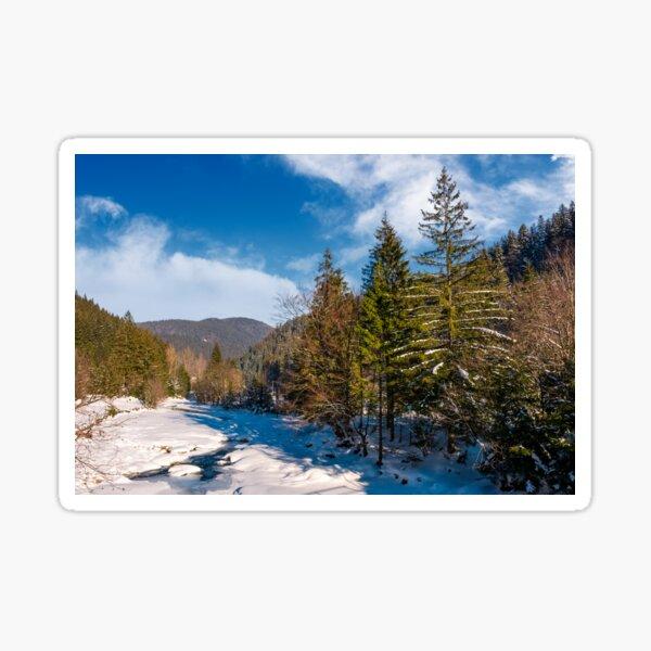 Tereblya river of Carpathian mountains in winter Sticker