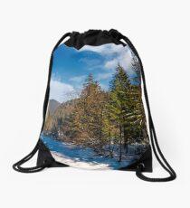 Tereblya river of Carpathian mountains in winter Drawstring Bag