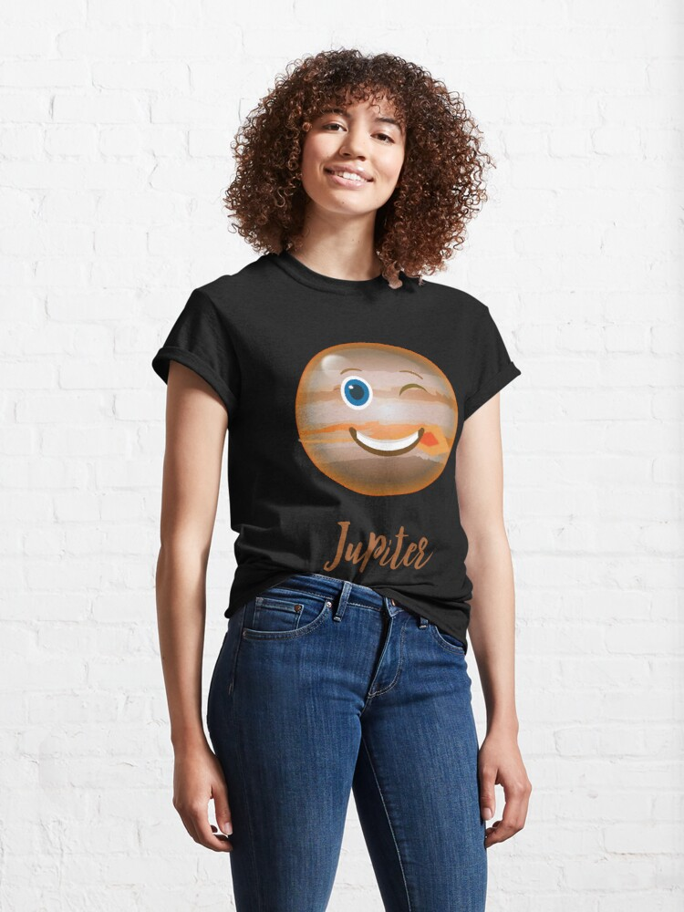 Alternate view of Cartoon Planet JUPITER Space Science T-Shirt Funny JUPITER face Sciences Astronomy Gift Tee Classic T-Shirt