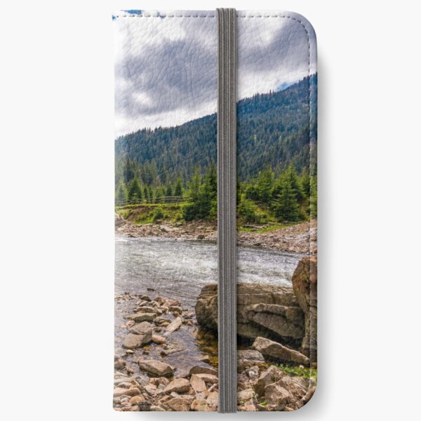 forest river with stones on shores iPhone Wallet
