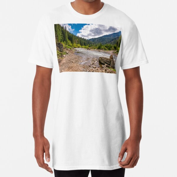 forest river with stones on shores Long T-Shirt