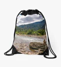 forest river with stones on shores Drawstring Bag
