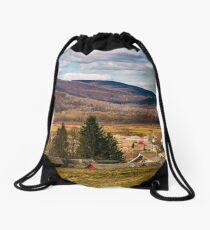 village in valley of Carpathian mountains Drawstring Bag