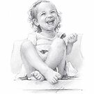 smiling granddaughter drawing by Mike Theuer