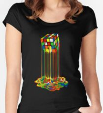 Rainbow Abstraction melted rubiks cube Women's Fitted Scoop T-Shirt